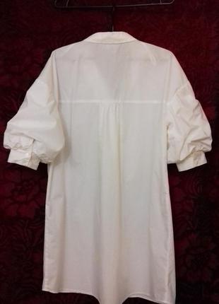 Avant premiere / 100% хлопок трендовое свободное платье рубашка на пуговицах рукав фонарик біла сукня на ґудзиках6 фото