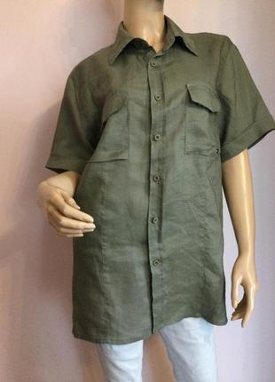 Натуральная мужская сорочка с коротким рукавом/xl/ brend always jeans лен- хлопок
