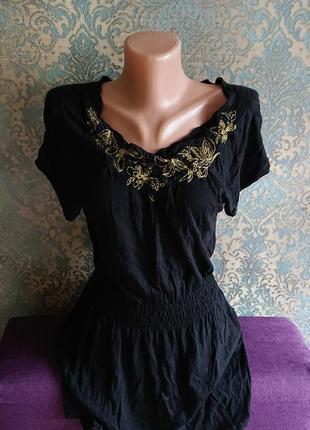 Женская черная удлиненная футболка туника блуза с вышивкой р.s/m