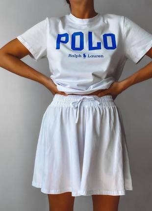 Костюм повседневный поло футболка шорты юбка оверсайз широкий повседневный спортивный лёгкий летний с надписью надписями