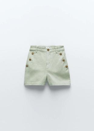 Шорты бермуды зелёные джинсовые декорированы золотистыми пуговицами с боковыми карманами zara