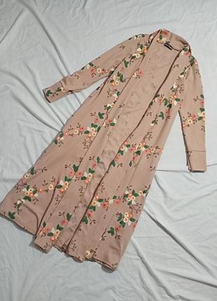 Накидка в пол кимоно халат в цветочный принт