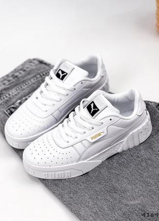 Натуральная кожа, базовые белые женские кроссовки