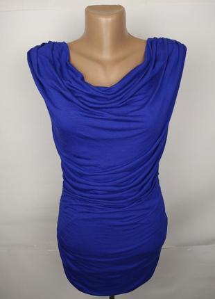 Блуза новая синяя шикарная трикотажная по фигуре h&m s