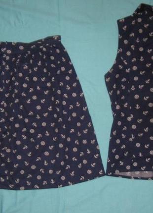 Костюм женский летний, морской, юбка мини и жилетка. см мерочки