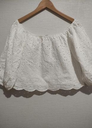 Хлопковая блуза топ с вышивкой и рукавами фонариками буфами