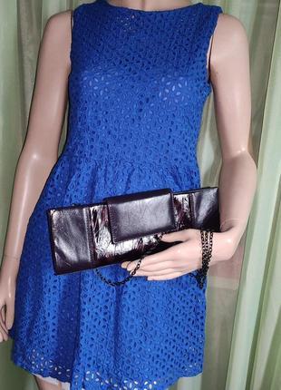 """Платье на подкладке , ткань"""" ришелье"""" , синее ,   """"yi chen"""" ,  s/m , 100% хлопок"""