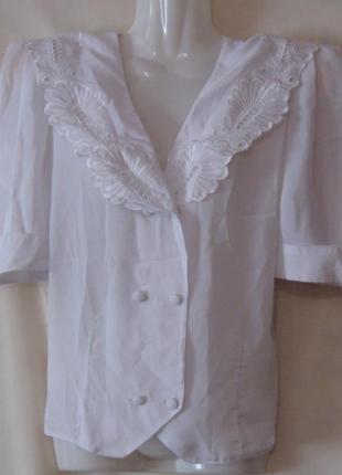 Блузка женская белая, на пуговицах. см мерочки