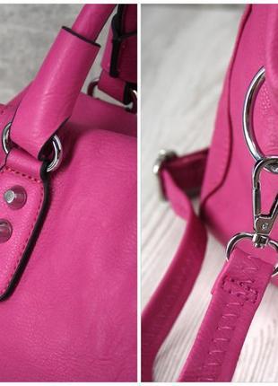 Стильная красивая яркая сумка цвета фуксия.4 фото
