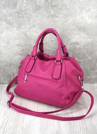 Стильная красивая яркая сумка цвета фуксия.3 фото