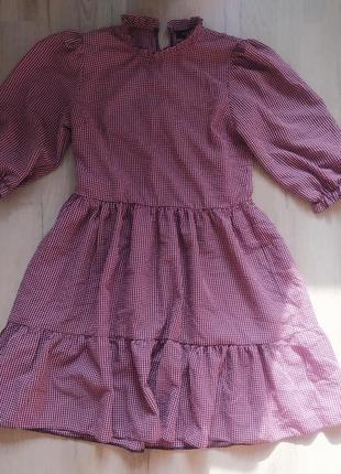 Платье клетка, оверсайз, стильное