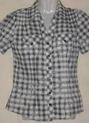 Рубашка женская, летняя, в клеточку, с коротким рукавом. см мерочки
