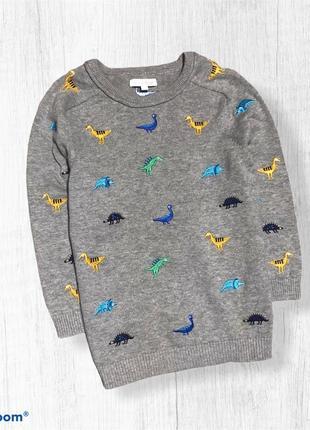 Bluezoo легкий свитерок с динозаврами 4-5-6 лет