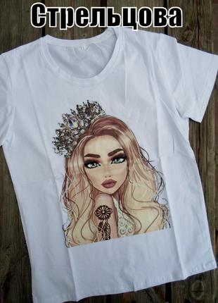 Женские стильные белые футболки с принтом