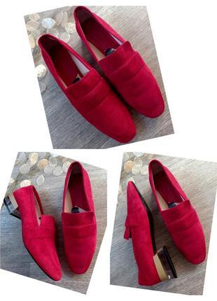 Яркие красные туфли лоферы mango