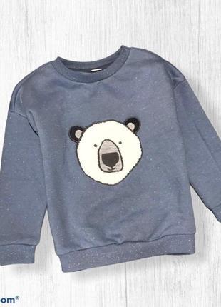 Tu свитер свитшот с утеплителем мишка 3-4 г