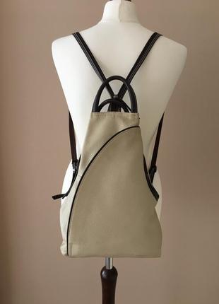 Кожаный рюкзак трансформер genuine leather италия