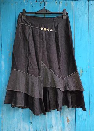 Льняная юбка в стиле бохо,46-48разм.,armand thiery.