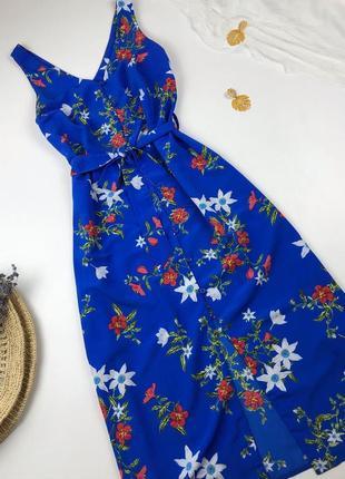 Сарафан синього кольору в квітковий принт