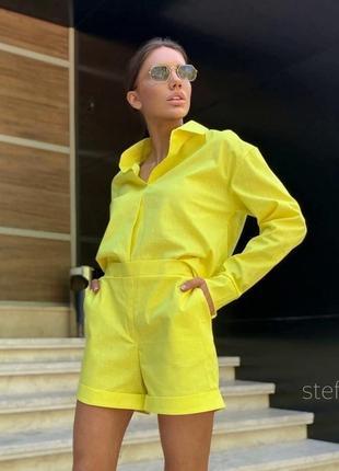 Льняной желтый свободный костюм двойка рубашка оверсайз и шорты лен