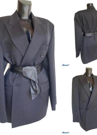 Фирменный стильный качественный натуральный шерстяной двубортный пиджак в мужском стиле
