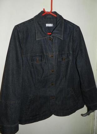 Джинсовый,стрейч жакет-пиджак с карманами,большого размера