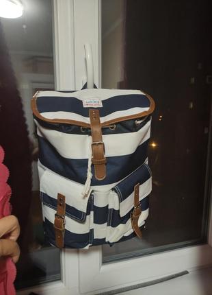 Next сумка термо рюкзак на пляж для пикника полоска синяя белая морской