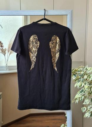 Хлопковая футболка с принтом крылья на спине