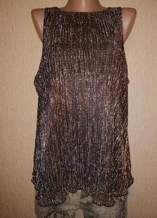 Новая нарядная женская блестящая блузка, майка label be