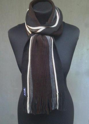 Мужской полосатый шарф коричневый в полоску