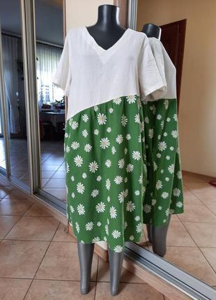 Котоново-льняное с карманами платье 👗большого размера