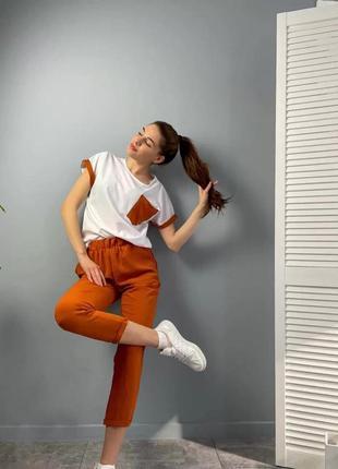 Классный двухцветный женский летний костюм с брюками (7890-фг)