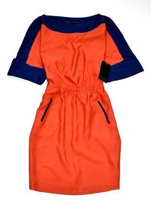 Zara новое красно синее платье  м