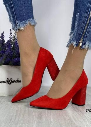 Женские туфли, красные туфли, туфли на каблуке