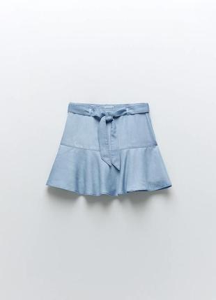 Юбка-шорты голубые с воланом рюшем оборкой и поясом zara
