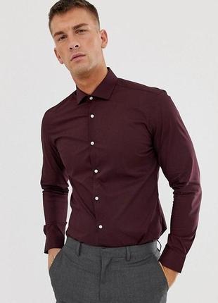 Рубашка новая бордовая мужская slim fit asos xs