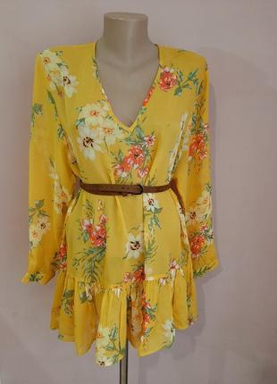 Яркая лёгкая блуза блузка блузочка с цветочным принтом орнаментом пляжная летняя яркая