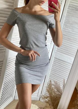 Платье в рубчик серое идеальное