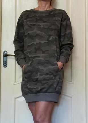 Батик, балахон, кенгурушка длинная, платье камуфляж
