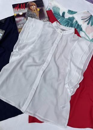 Asos uk 10 красивая нежная белая блуза с рукавами воланами