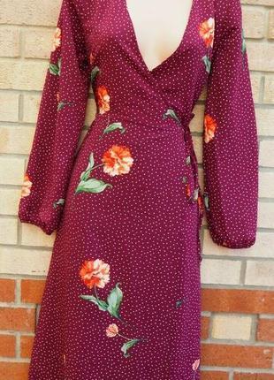 Милое платье-миди на запах в горошек и цветы как h&m asos zara.новое