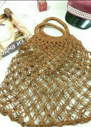 Плетеннная женская сумка. авоська.