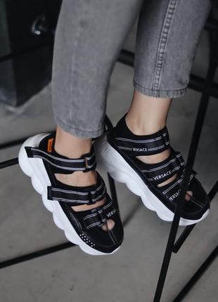Мужские сандали ver|sace sandal black скидка sale | чоловічі сандалі чорні знижка