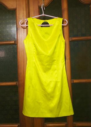 Платье коктейльное мини желтое, xxs/xs, 40-42р
