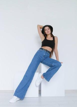 Широкие длинные джинсы трубы / клеш / палаццо1 фото