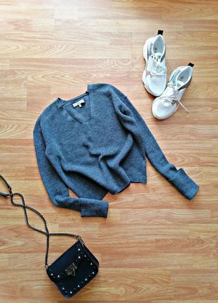 Женский вязаный трендовый укороченный серый свитер - джемпер оверсайз - размер 42-44