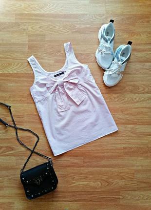 Женская легкая хлопковая брендовая розовая блуза - топ - майка в полоску atmosphere - размер 42-44