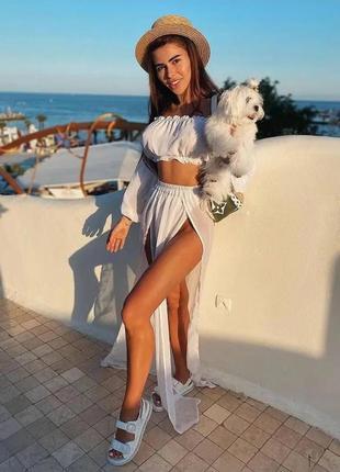 Пляжный шифоновый костюм🏞топ и юбкас разрезами🏝