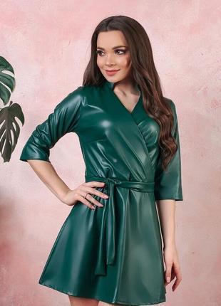 Стильна сукня з еко-шкіри стрейч 50-52 розміру !