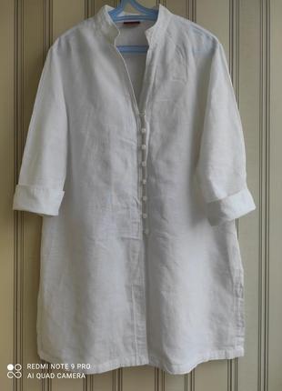 Льнаная брендовая удлиненная рубашка, блуза